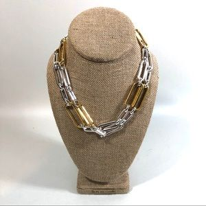 """Silver and Gold Chain Necklace 36"""""""